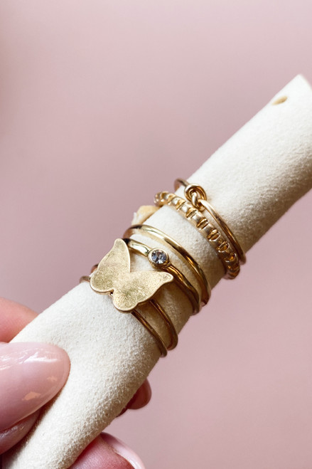 Gold - Butterfly Ring Set