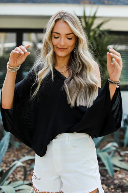 Black - Oversized Knit Top from Dress Up