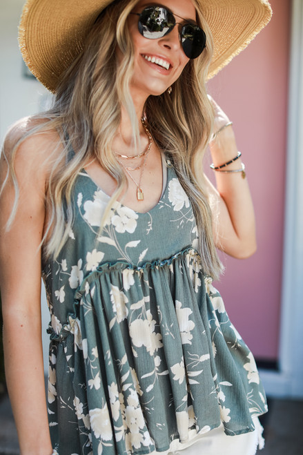 Sage - Floral Babydoll Tank from Dress Up