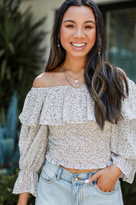 Ivory - Cropped Floral Blouse from Dress Up