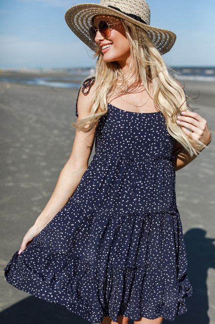 Navy - Polka Dot Tiered Dress from Dress Up