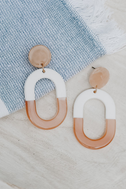 White - Acrylic Drop Earrings from Dress Up