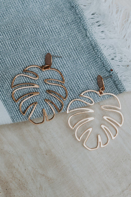 Gold - Palm Leaf Drop Earrings from Dress Up