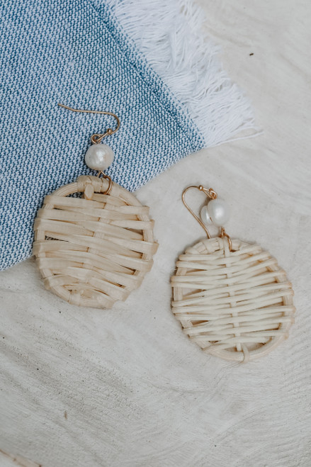 Natural - Rattan Drop Earrings from Dress Up
