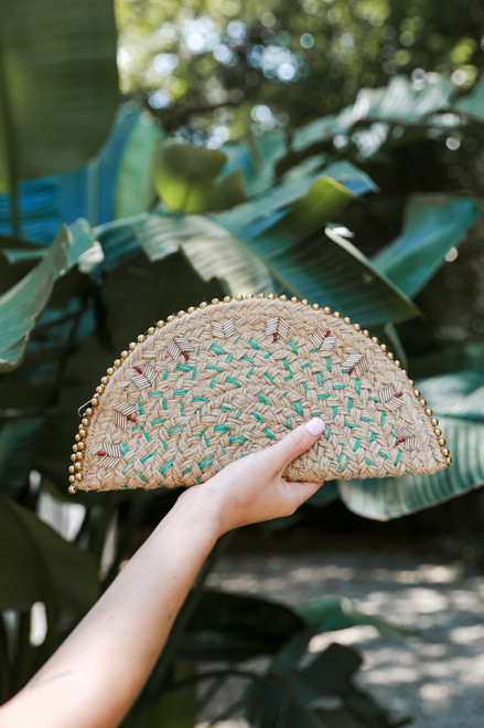 Natural - Straw Beaded Clutch from Dress Up