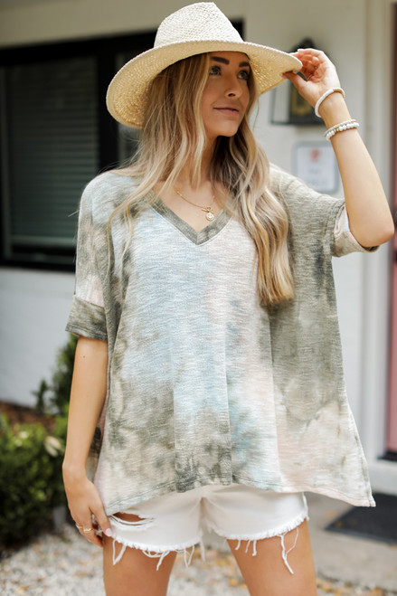 Olive - Oversized Tie-Dye Knit Top from Dress Up