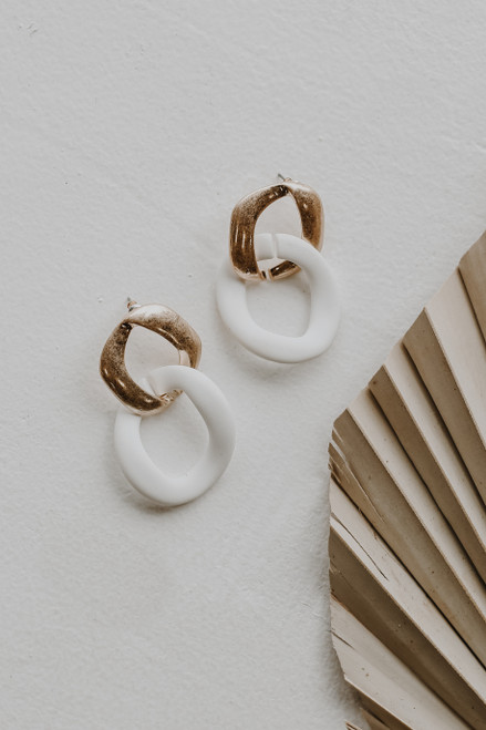 White - Matte Statement Drop Earrings from Dress Up