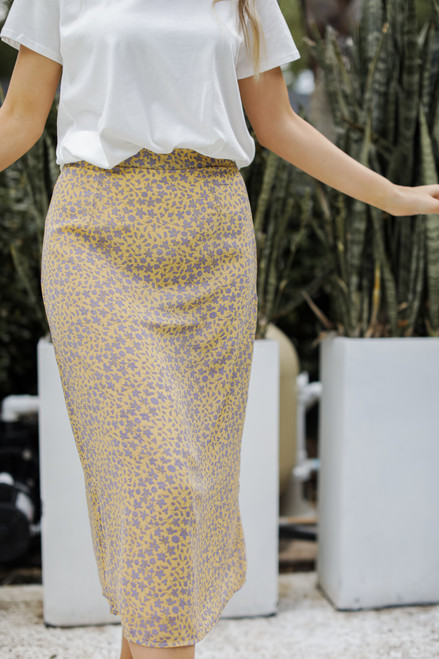 Yellow - Floral Midi Skirt from Dress Up