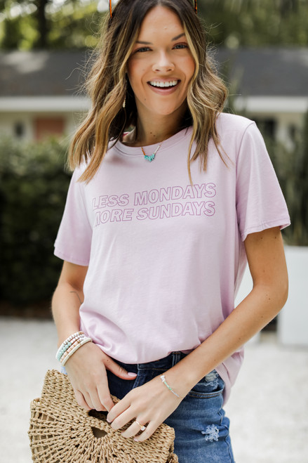Lilac - Less Mondays More Sundays Graphic Tee from Dress Up