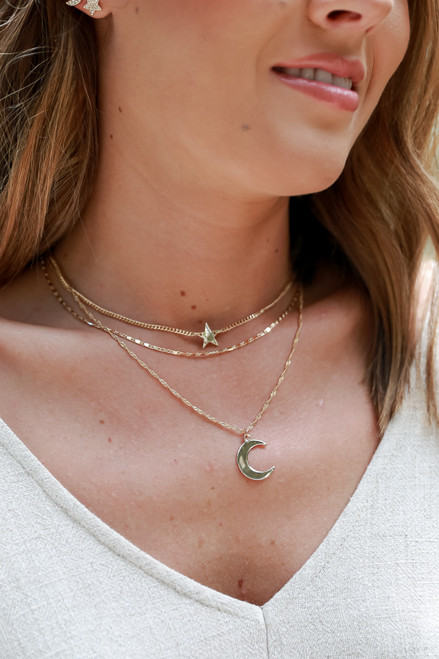Gold - Star and Moon Layered Necklace