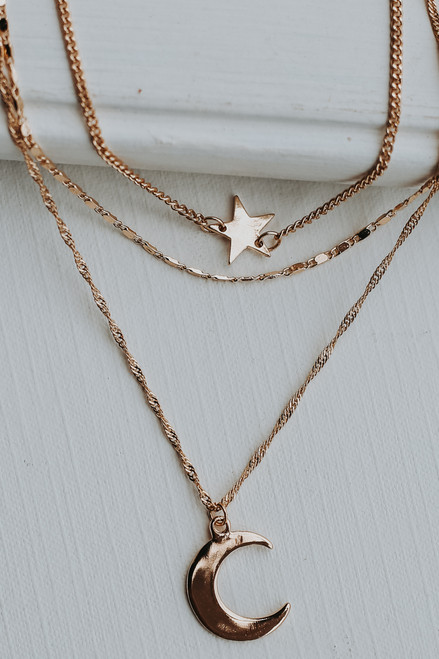 Gold - Star and Moon Layered Necklace from Dress Up