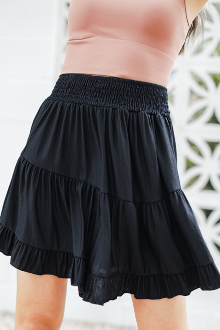 Black - Smocked Tiered Mini Skirt from Dress Up