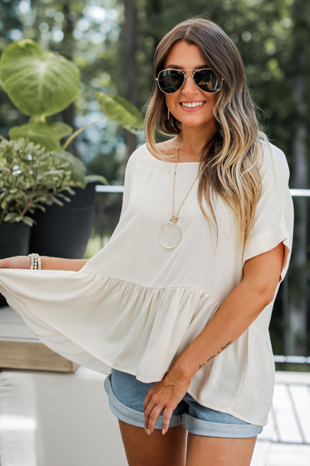 Taupe - Peplum Top from Dress Up