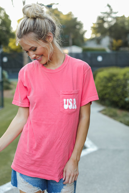 Coral - Land Of The Free Graphic Tee from Dress Up