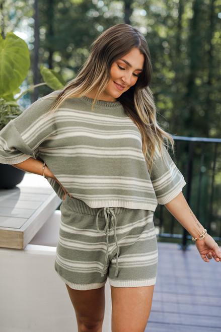 Olive - Striped Knit Top