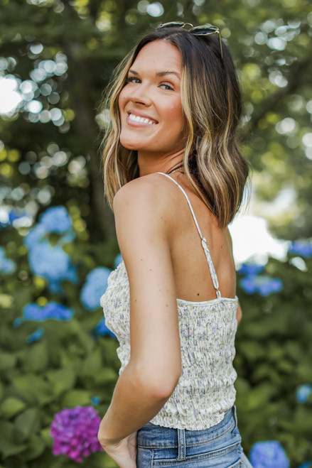 Ivory - Floral Smocked Crop Top from Dress Up