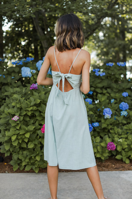 Sage - Button Front Midi Dress from Dress Up