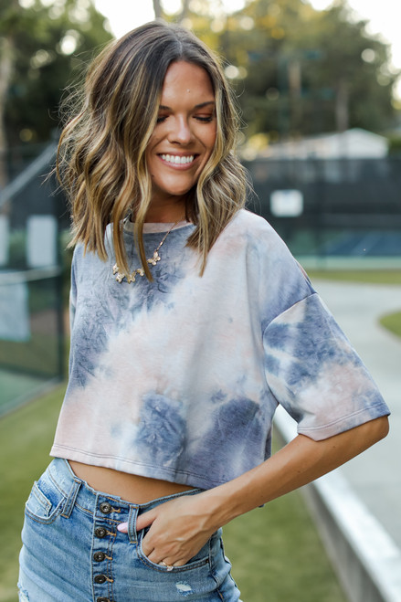 Navy - Tie-Dye Cropped Tee from Dress Up