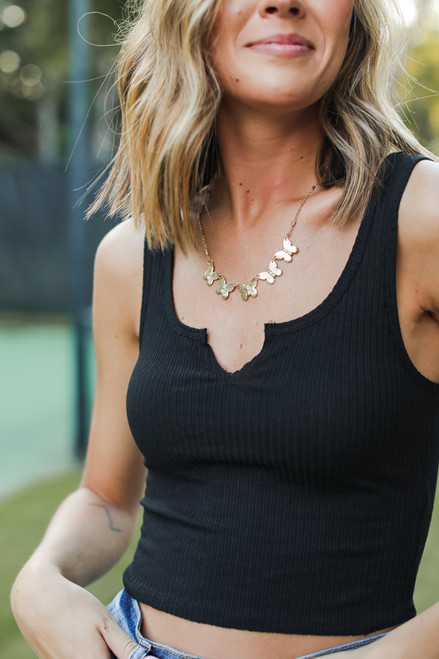 Black - Notched Cropped Tank from Dress Up