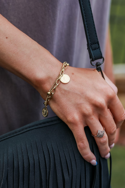 Gold - Coin Layered Bracelet