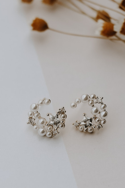 White - Pearl + Star Stud Earrings from Dress Up