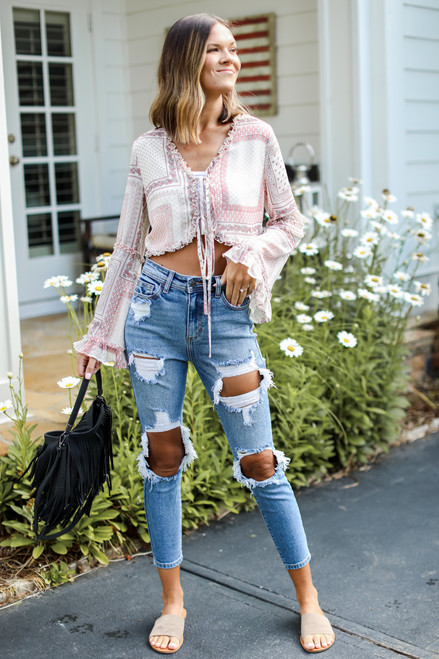 Medium Wash - Distressed Mom Jeans from Dress Up