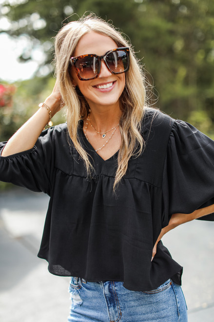Black - Babydoll Blouse from Dress Up