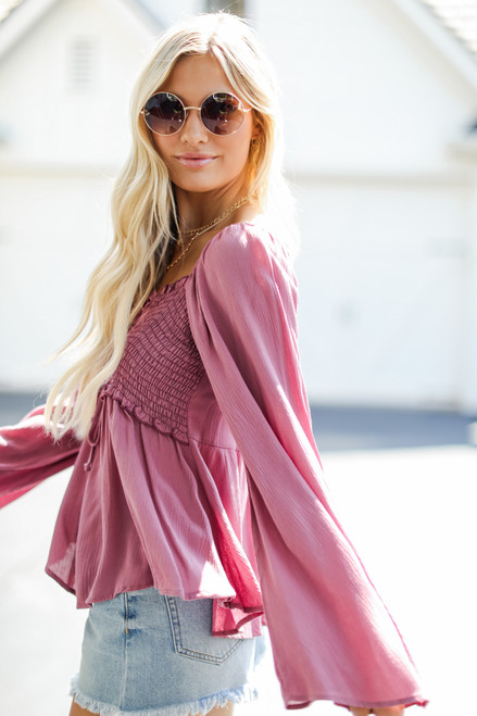 Mauve - Smocked Blouse from Dress Up