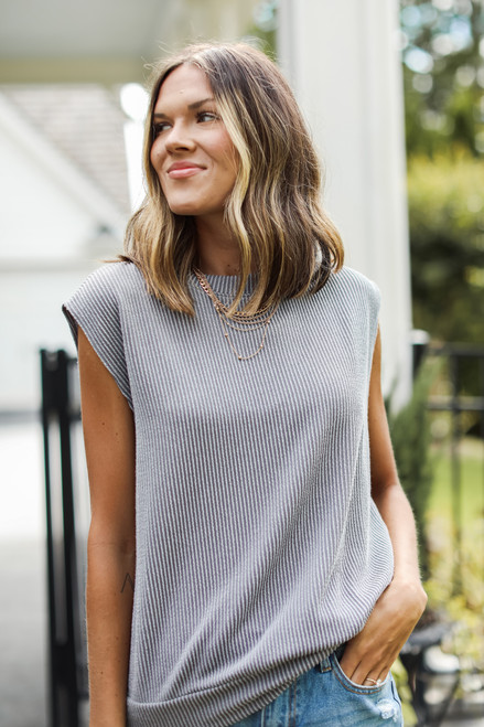 Grey - Corded Muscle Tank from Dress Up