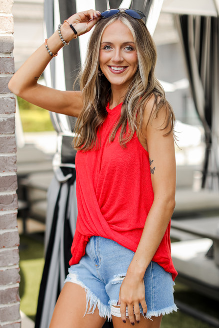 Red - Knit Tank