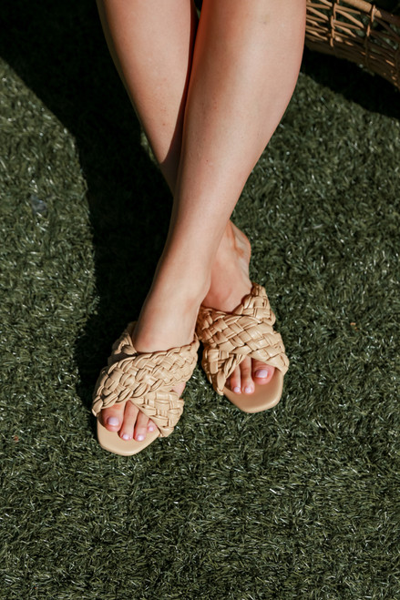 Tan - Braided Slide Sandals from Dress Up