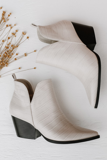 White - Crocodile Pointed Toe Booties from Dress Up
