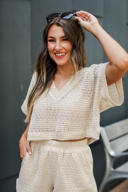 Ivory - Crochet Knit Top from Dress Up