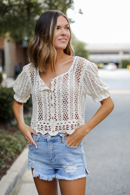 Natural - Crochet Top from Dress Up