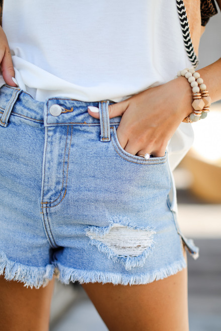 Light Wash - Distressed Denim Shorts from Dress Up