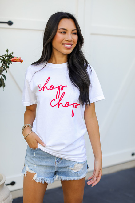White - Chop Chop Graphic Tee from Dress Up