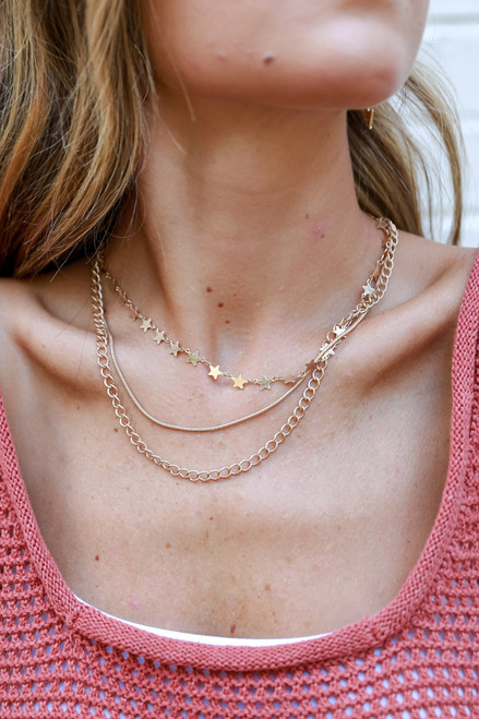 Gold - Star Layered Necklace