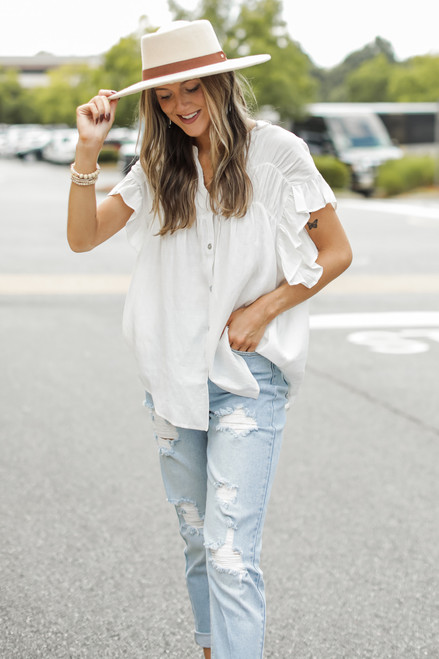 White - Ruffle Blouse from Dress Up