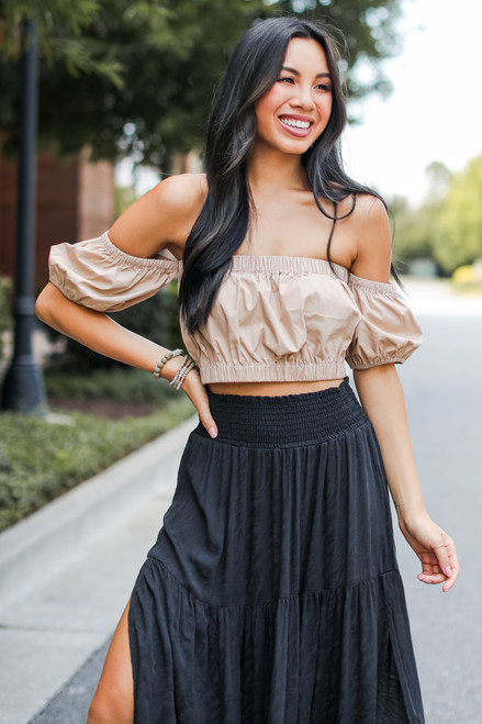 Taupe - Crop Top from Dress Up