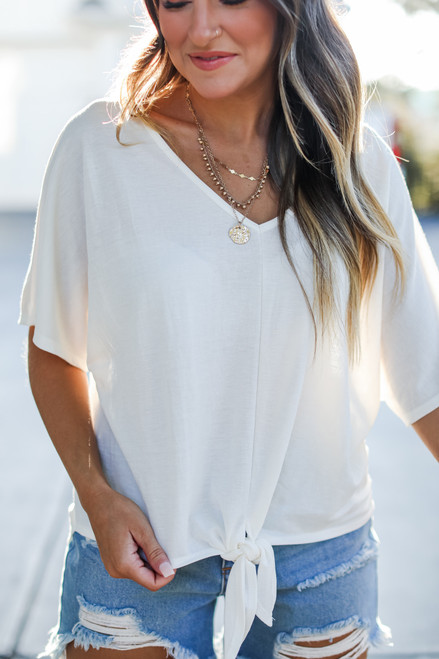 White - Tie-Front Top from Dress Up
