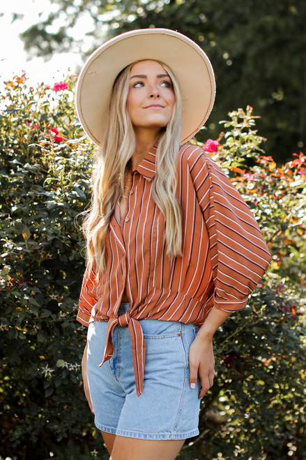 Camel - Striped Button Up Blouse