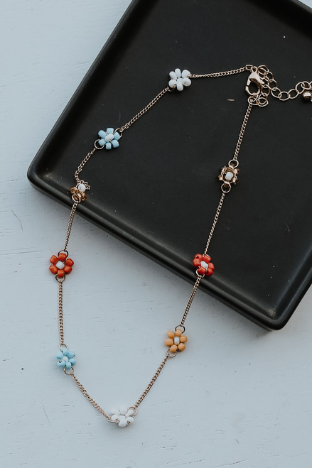 Multi - Beaded Flower Necklace from Dress Up