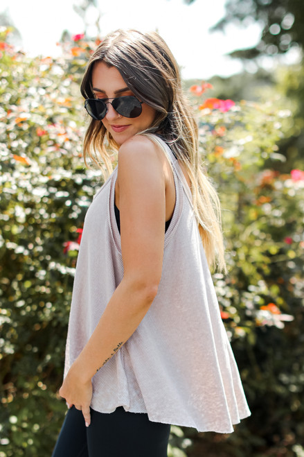 Taupe - Waffle Knit Tank from Dress Up