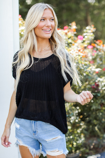 Black - Loose Knit Sweater Top from Dress Up
