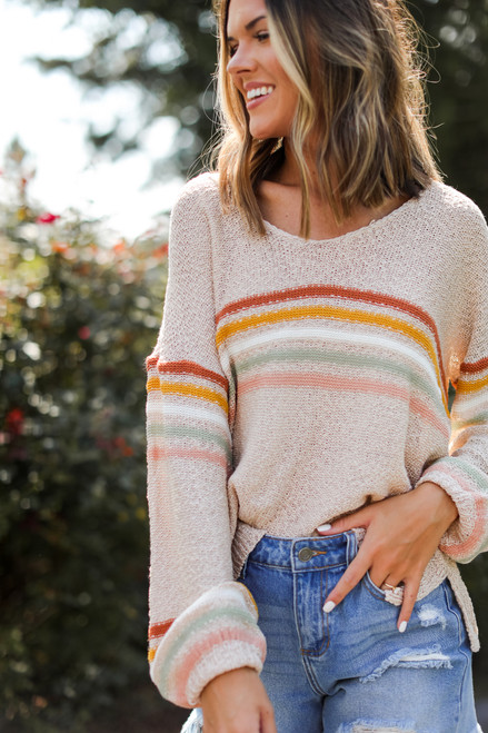 Taupe - Striped Sweater from Dress Up