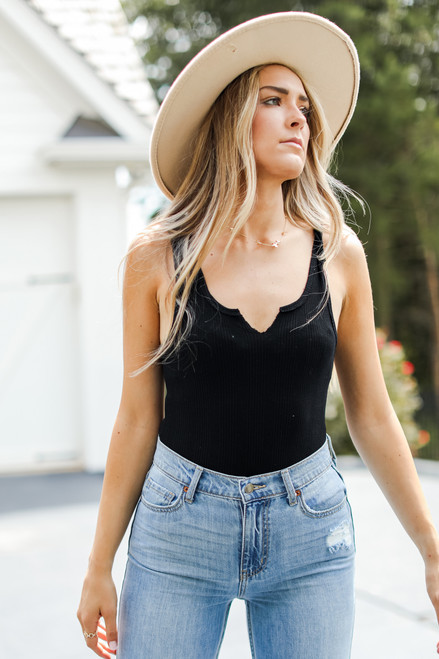 Black - Ribbed Bodysuit from Dress Up