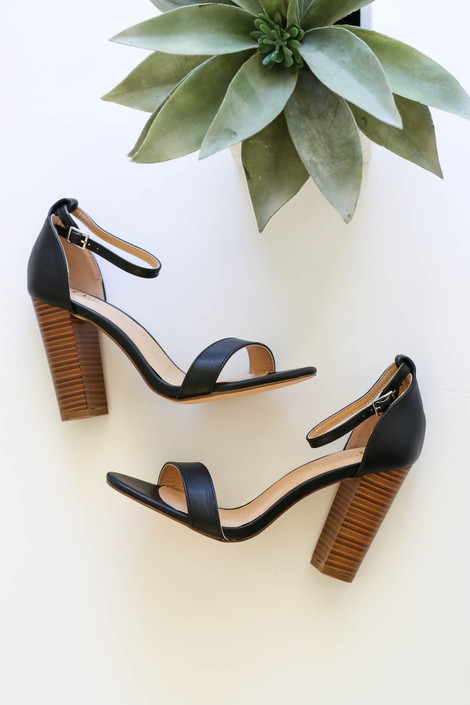 Black - Ankle Strap Wooden Block Heels