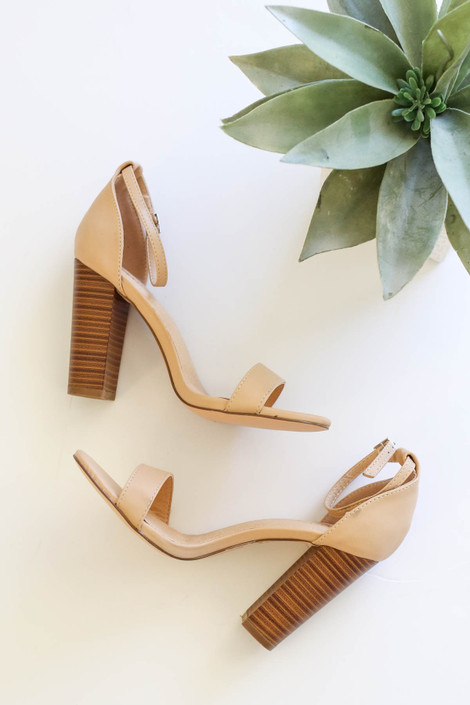 Nude - Ankle Strap Wooden Block Heels