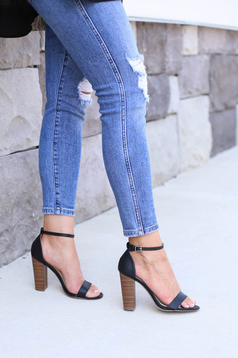 Black - Ankle Strap Wooden Block Heels On Model