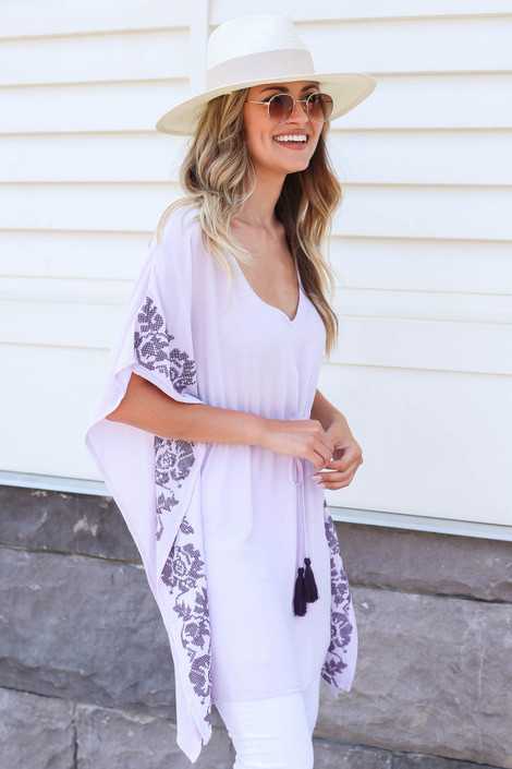 Model wearing Purple Drawstring Embroidered Tunic Side View